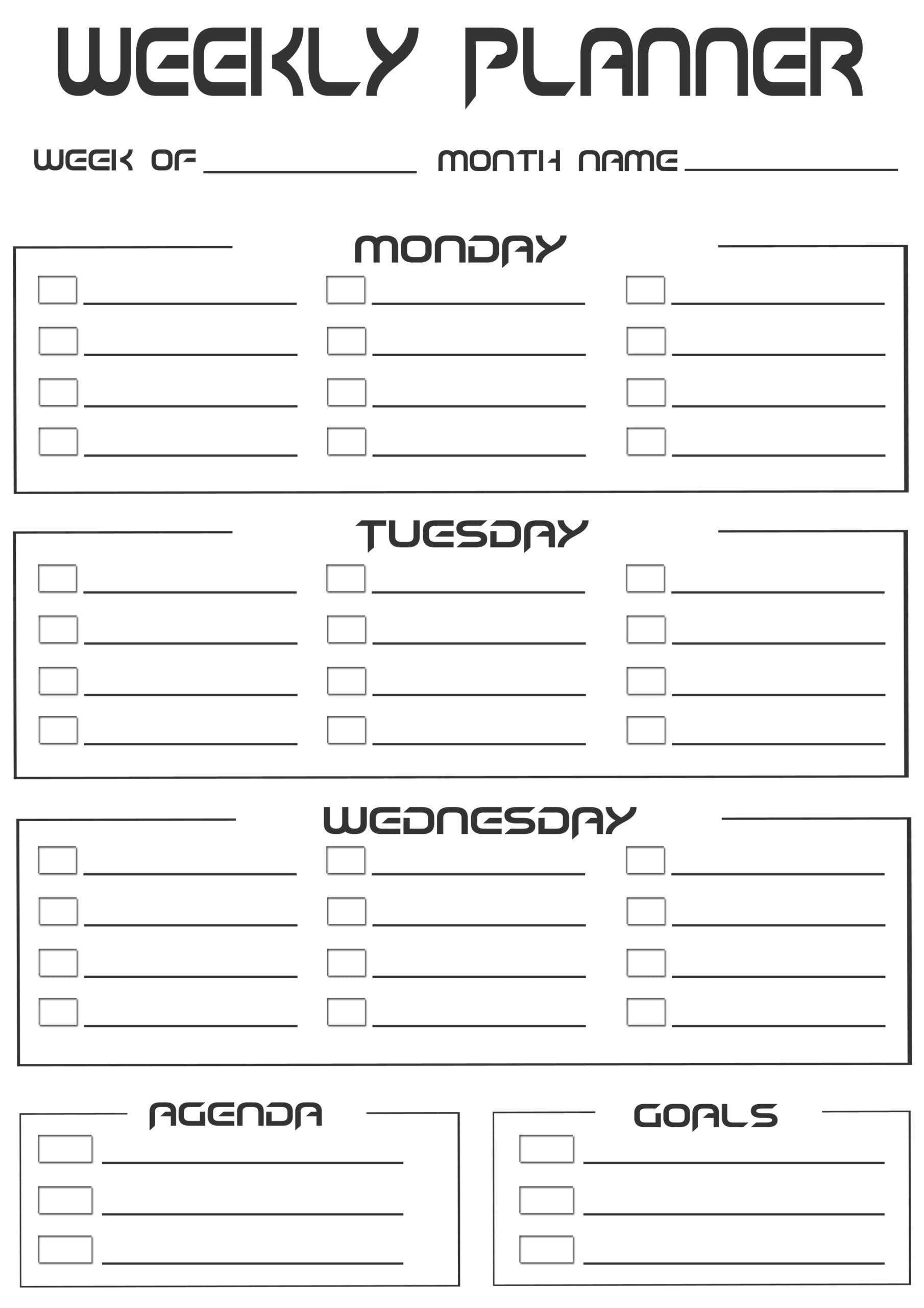 2020 Free 20+ Printable Weekly Planner  Weekly Schedule Two Week Calendar Pdf