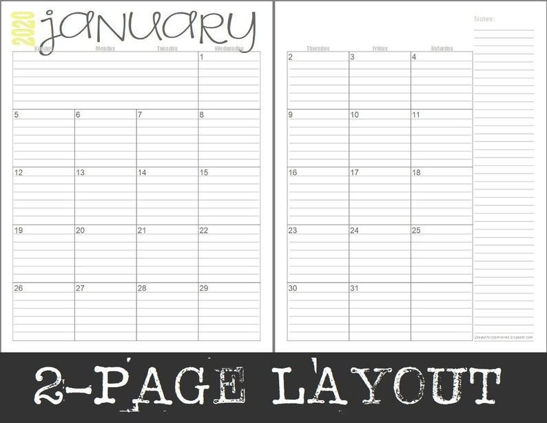 2020 Monthly 2 Page Lined Calendars (Full Year) Printable Ruled Monthly Calendar Template