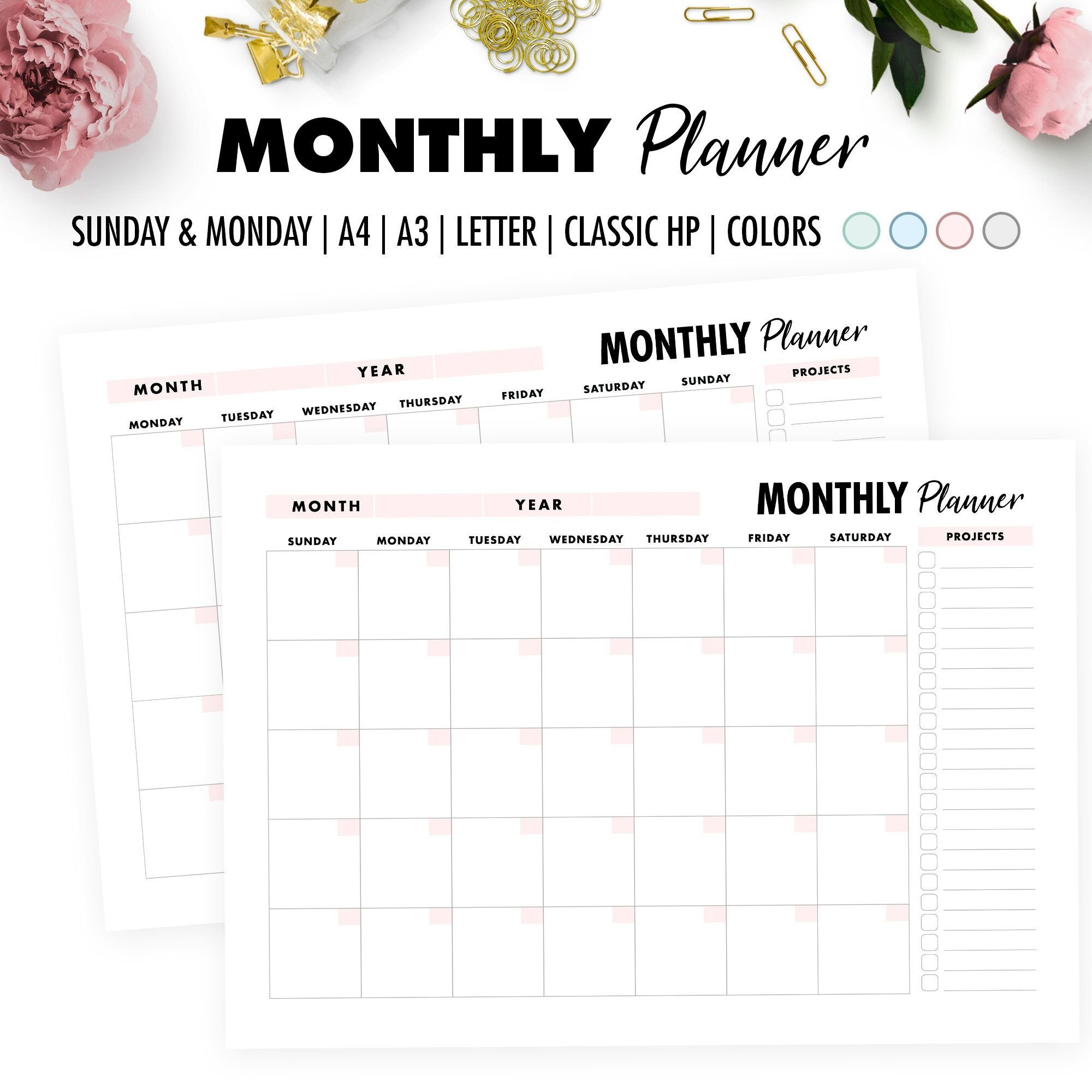 2020 Monthly Calendar Printable, Monthly Planner, A3 - A4 Hp Free Calendars To Print