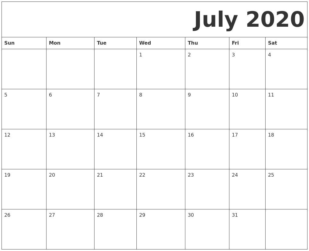 2020 Printable Calendar Sunday To Saturday | Free Blank Calendar Free Edit Sunday Through Saturday