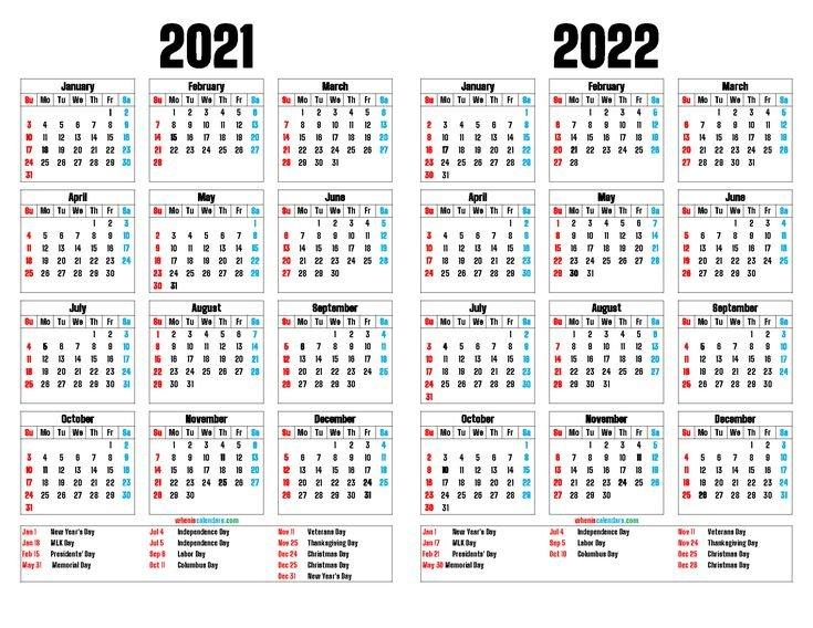 2021 And 2022 Printable Two Year Calendar (12 Templates Multiple Year Printable Calendar