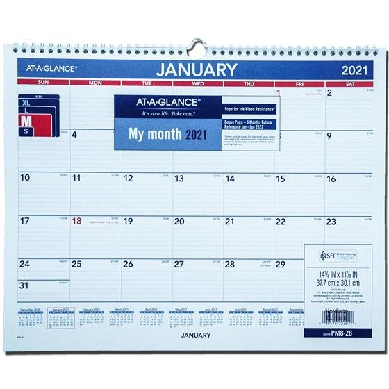 2021 At A Glance Pm8 28 Monthly Wall Calendar, 14 7/8 X 11 Monthly Calendar On 8 X 11 Sheet
