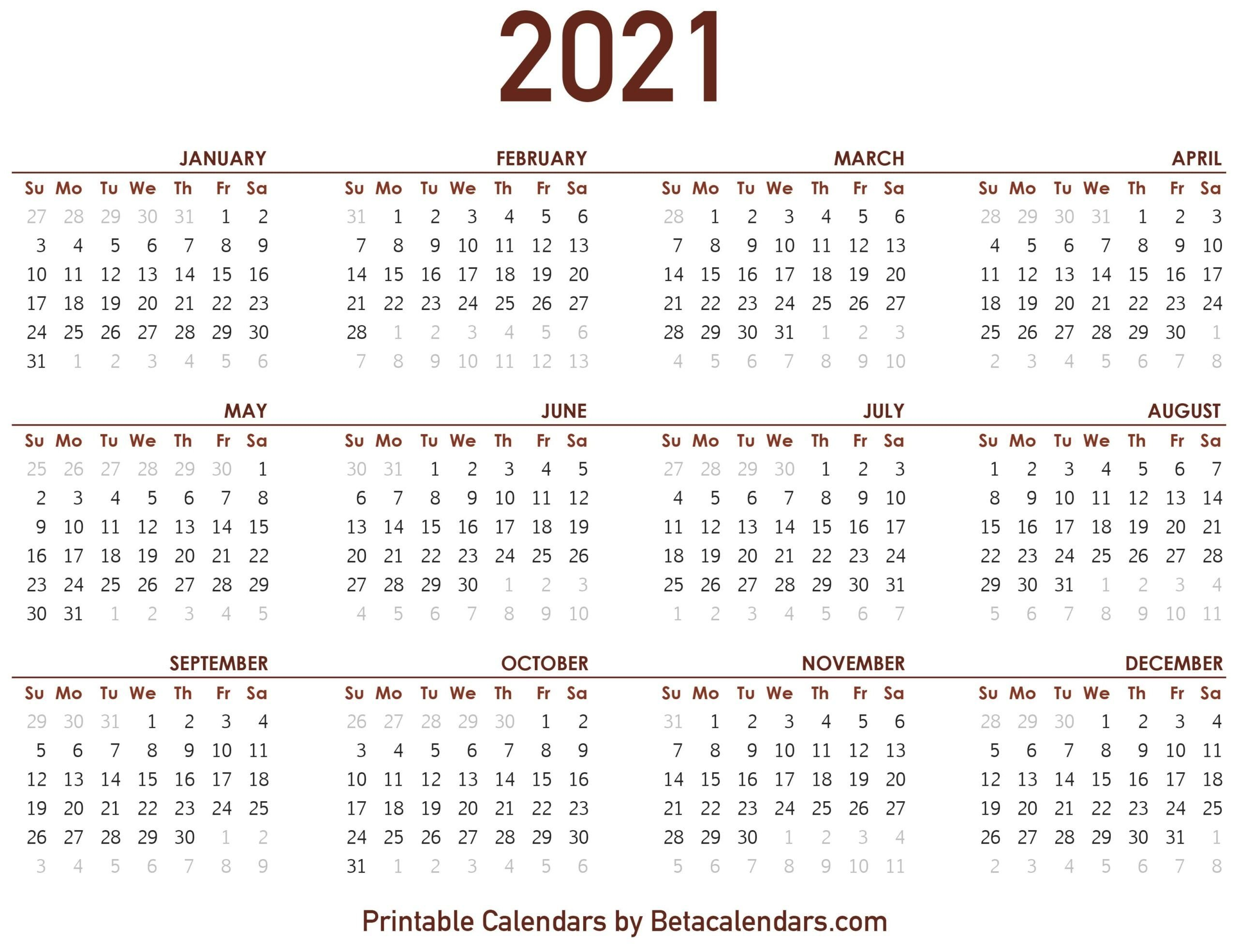 2021 Calendar With Numbered Days – Example Calendar Printable Calendar With Number Days 365