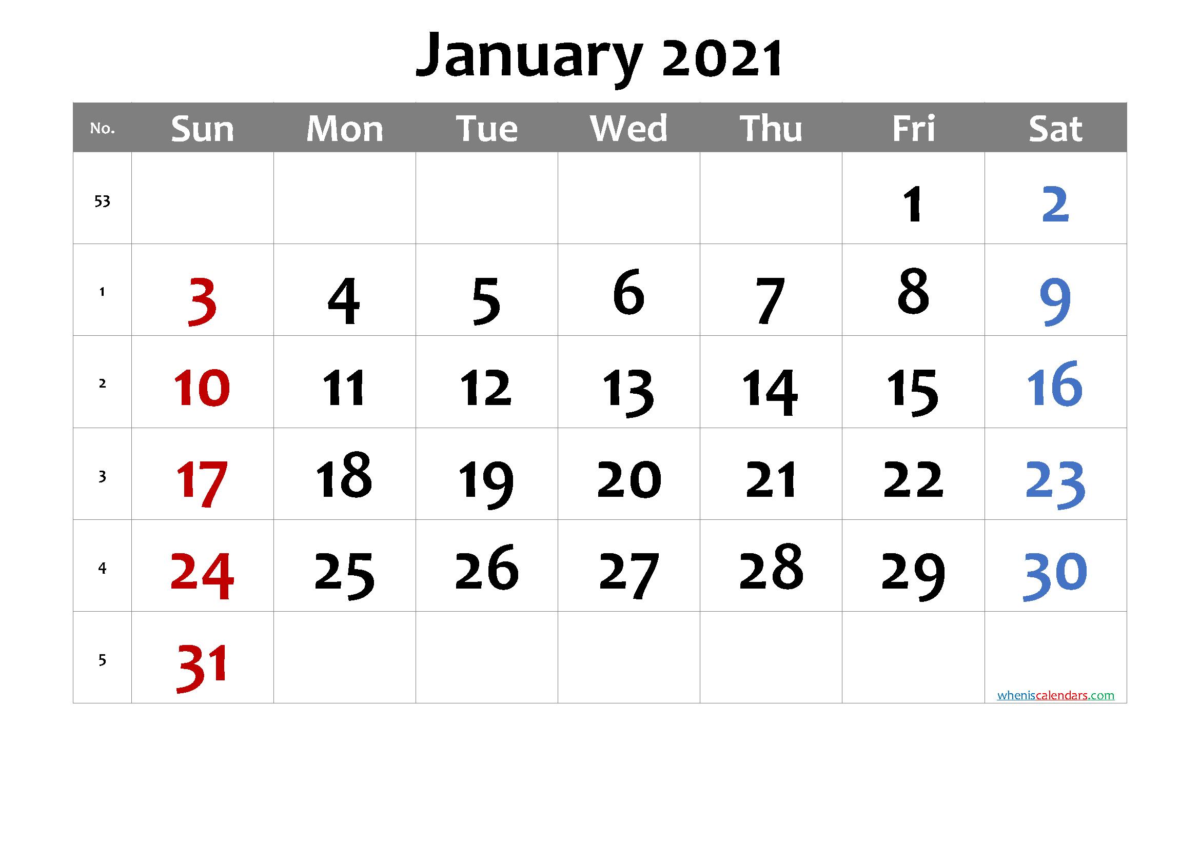 2021 Calendar With Week Number Printable Free / Week Weekly Numbered 52 Week Calendar Printable