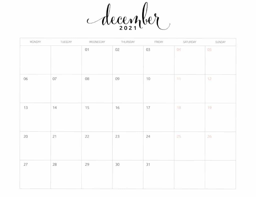 2021 Monthly Calendar Monday Start – World Of Printables How To Print A Calendar Full Page 8 X 11