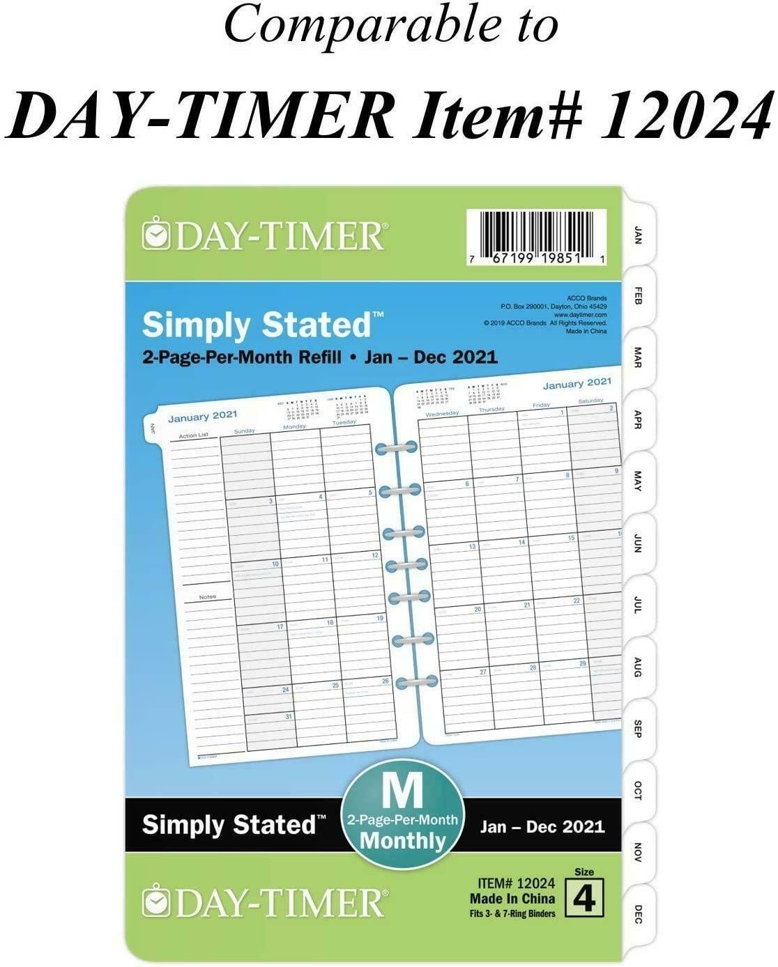 """2021 Monthly Planner Refill 12024 Day Timer 5-1/2"""" X 8-1/2 5 1/2 By 8 1/2 Weekly Calendar Printable"""