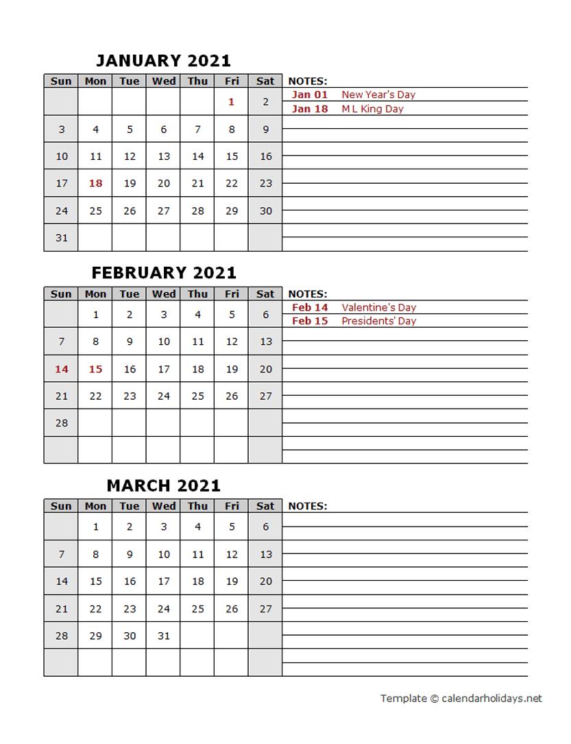 2021 Quarterly Template – Calendarholidays Three Months Calendar Free