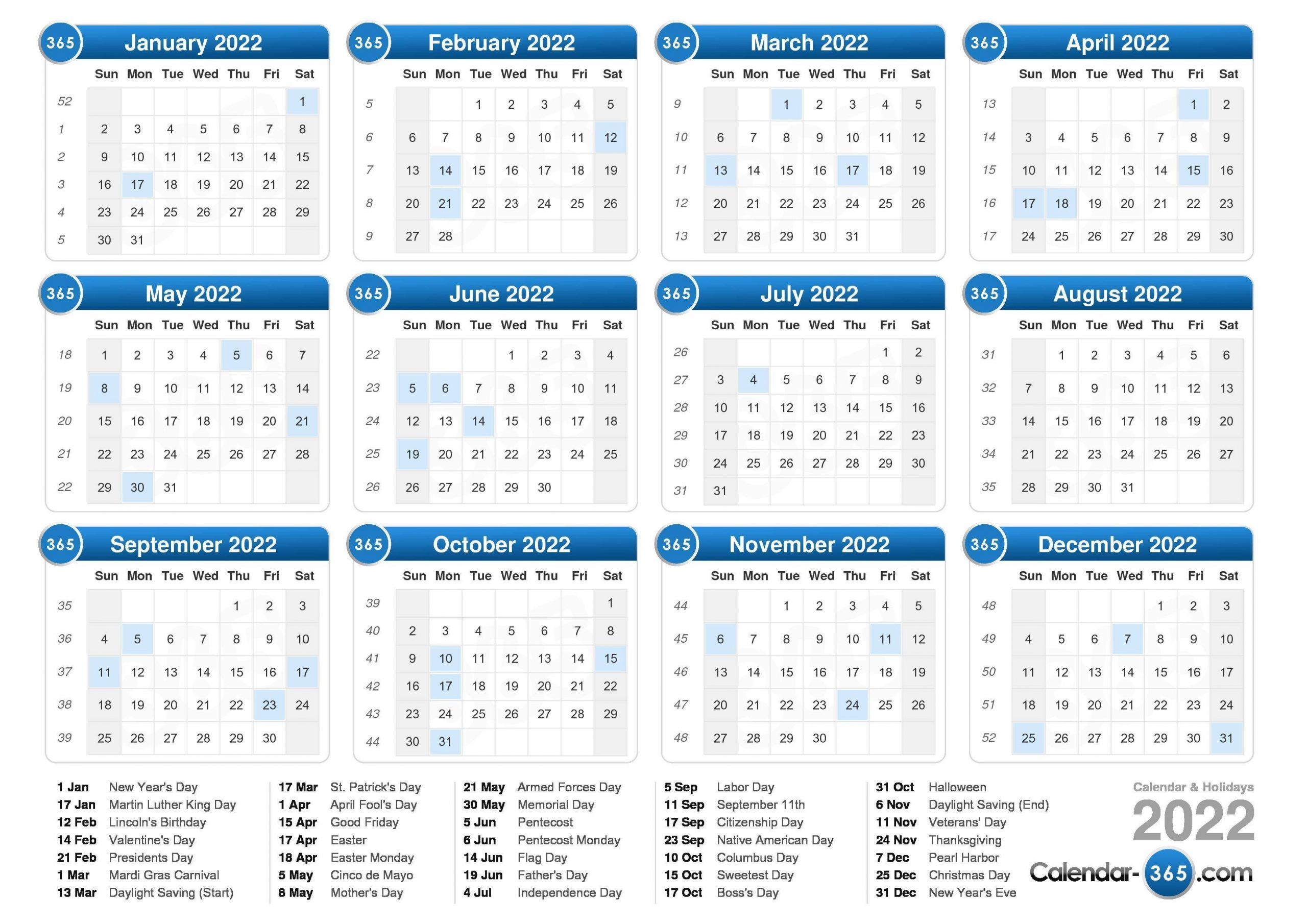 2022 Calendar Calendar With Number Days 365