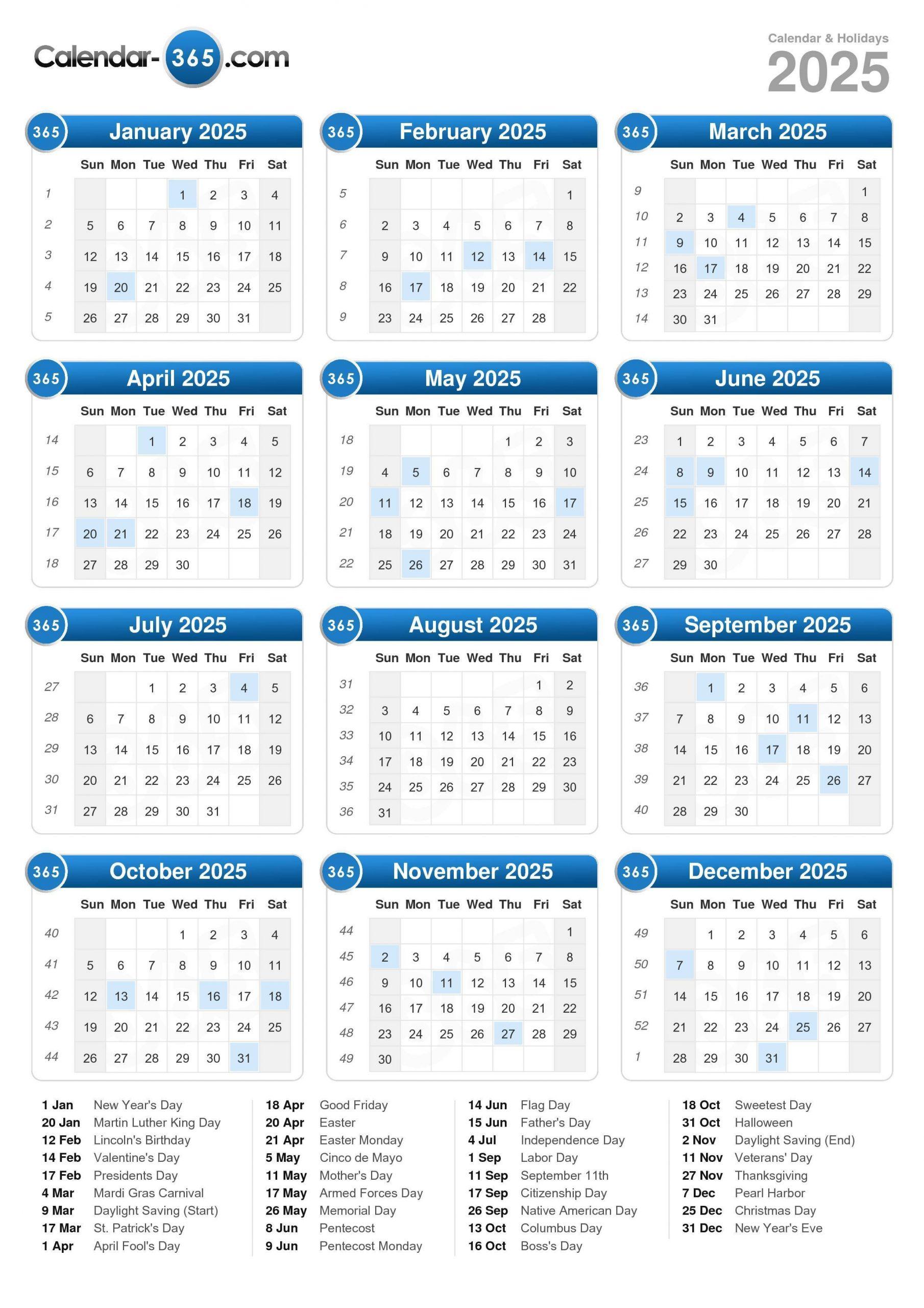 2025 Calendar Calendar With Number Days 365