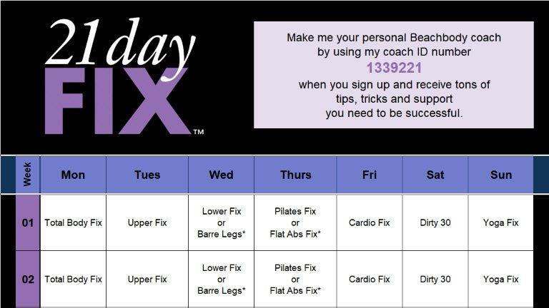 21 Day Fix Calendar 21 Day Calendar Template