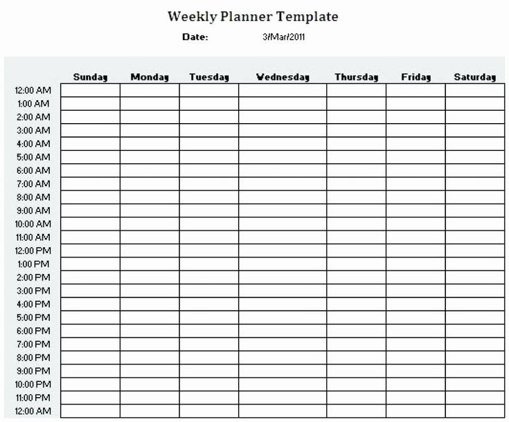 24 Hr Schedule Template Unique Printable 24 Hour Weekly Daily Hour By Hour Printable Calendar