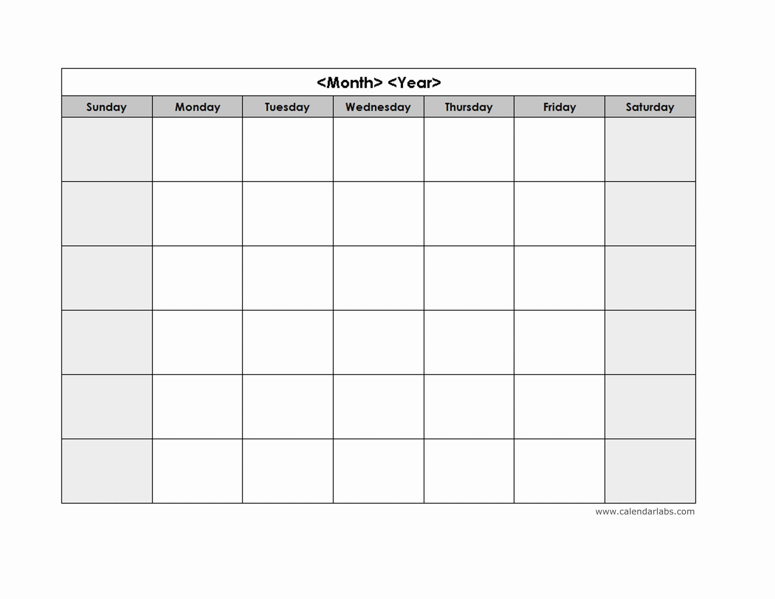 25 Blank Monthly Schedule Template In 2020   Monthly Word Calendar Template Monday – Sunday