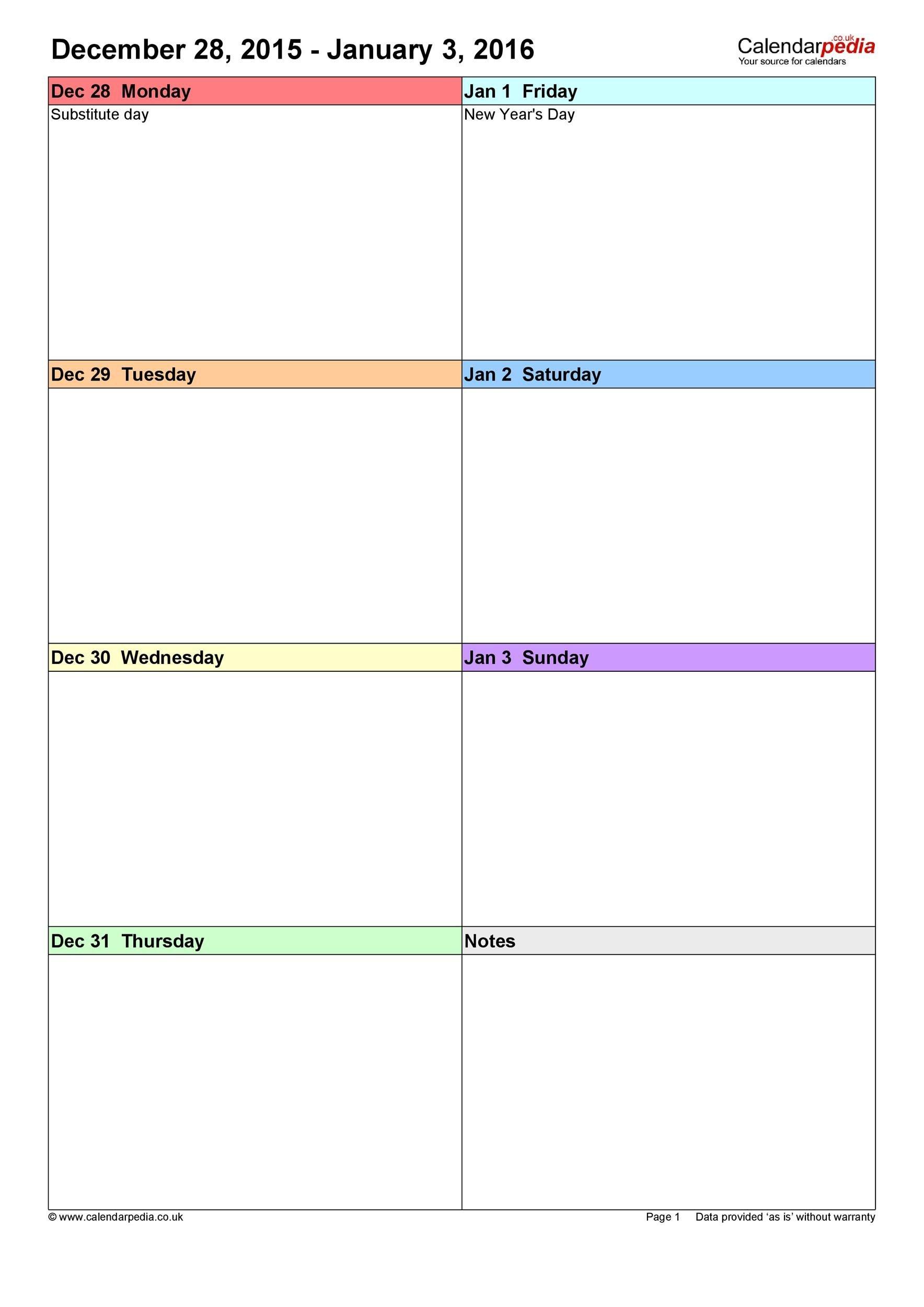 26 Blank Weekly Calendar Templates [Pdf, Excel, Word] ᐅ 7 Day Week Blank Timetable