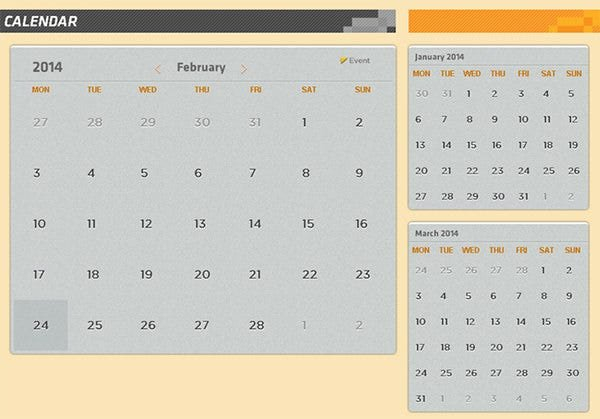 26+ Html Calendar Templates – Html, Psd, Css | Free Free Interactive Calendar Templates