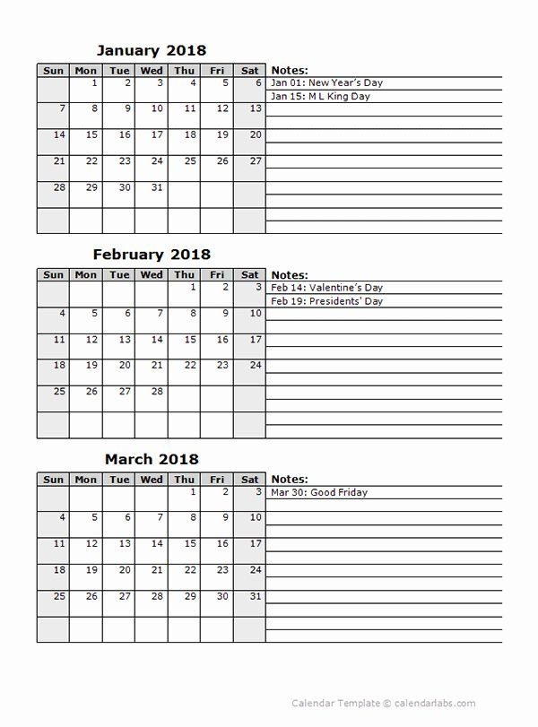 3 Month Blank Calendar Template Awesome 2018 Three Month Free Printable Calendars By 3 Months