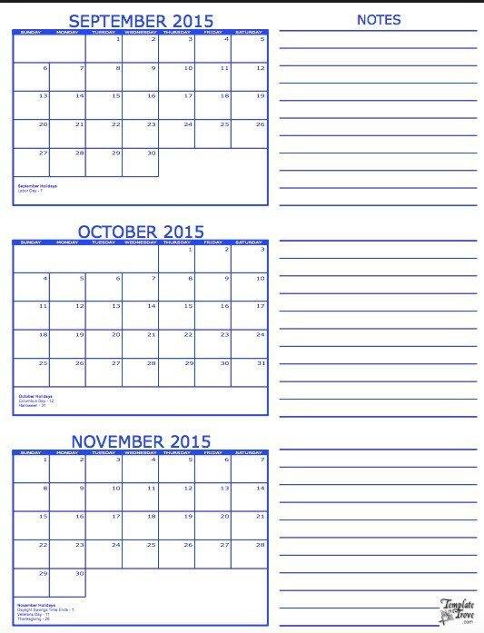 3 Month Calendar Template 3 Month Calendar Free Printable