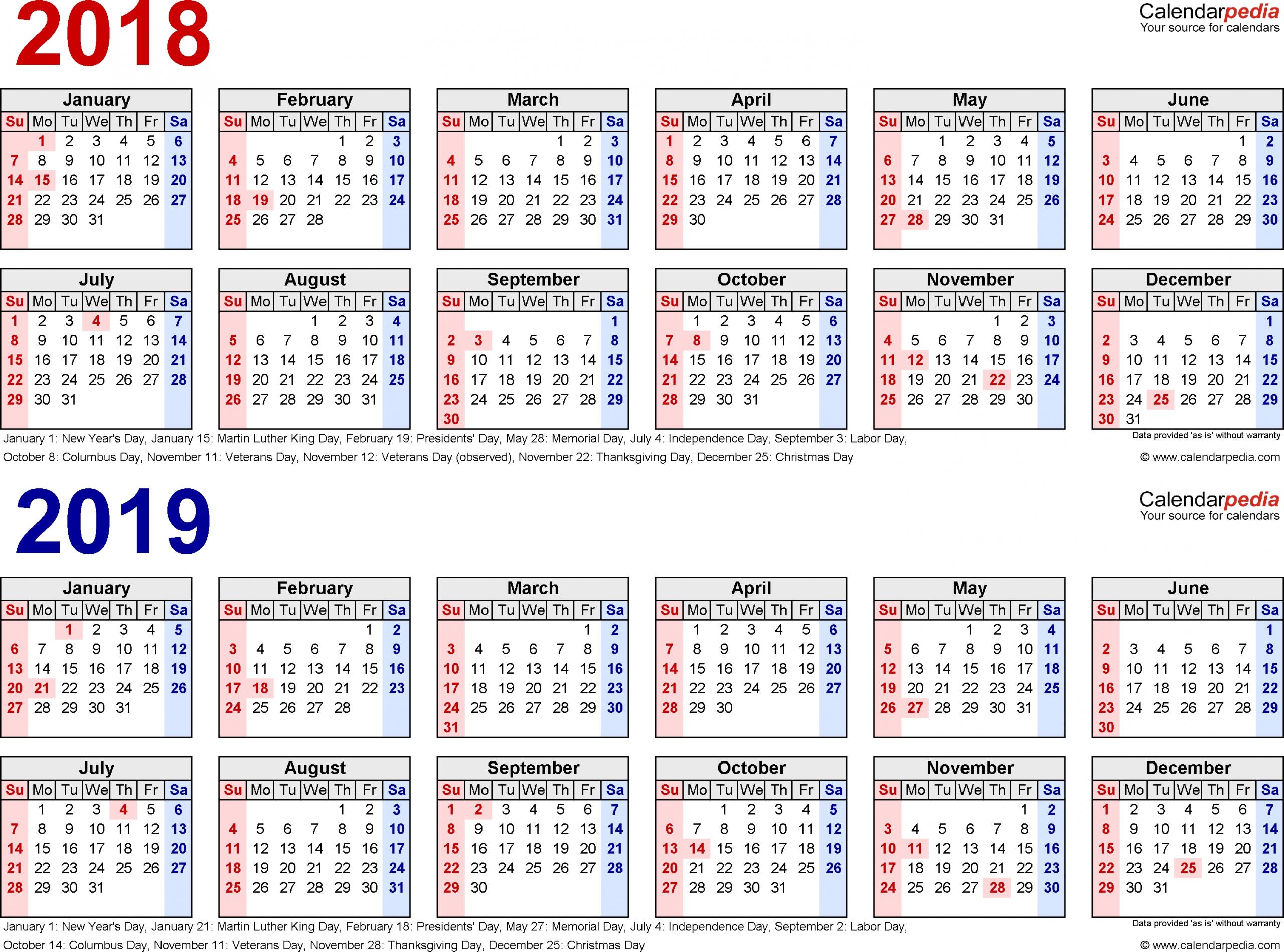3 Year Calendar Printable 2018 2019 2020 – Calendar Multiple Year Printable Calendar