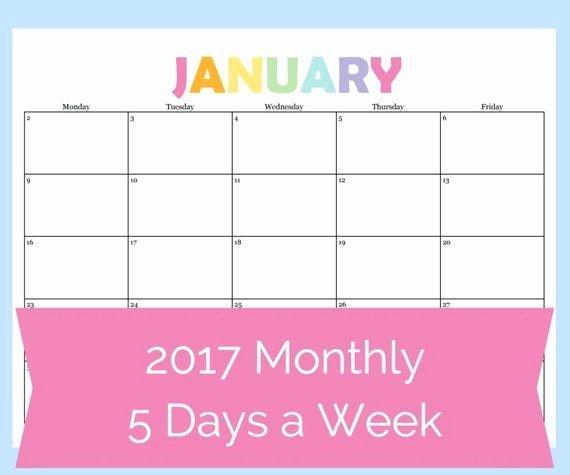 30 5 Day Schedule Template In 2020   Weekly Calendar 4 Week Printable Calendar