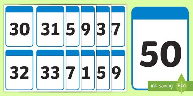 30 50 Number Digit Flashcards (Teacher Made) Large Printable Numbers 1 31