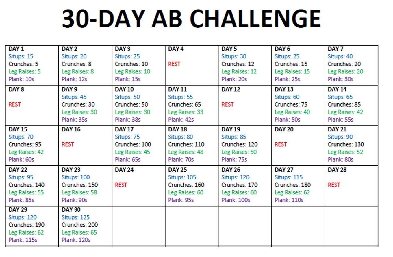 30 Day Ab Challenge + 28 Day Squat Challenge Free Printable Squat Challenge Chart