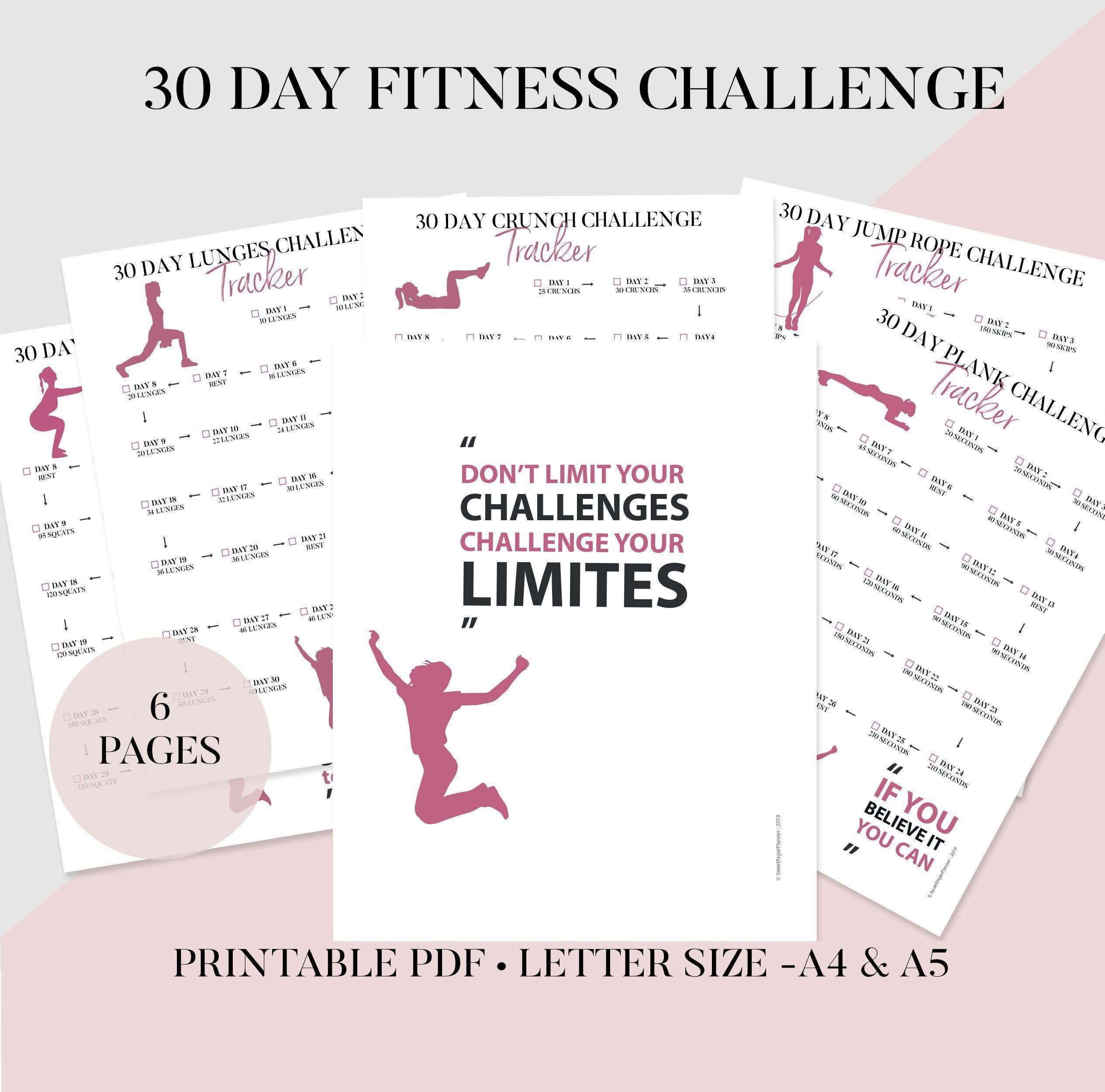 30 Day Challenge Bundle, Printable Fitness Planner, Squat Free Printable Squat Challenge Chart