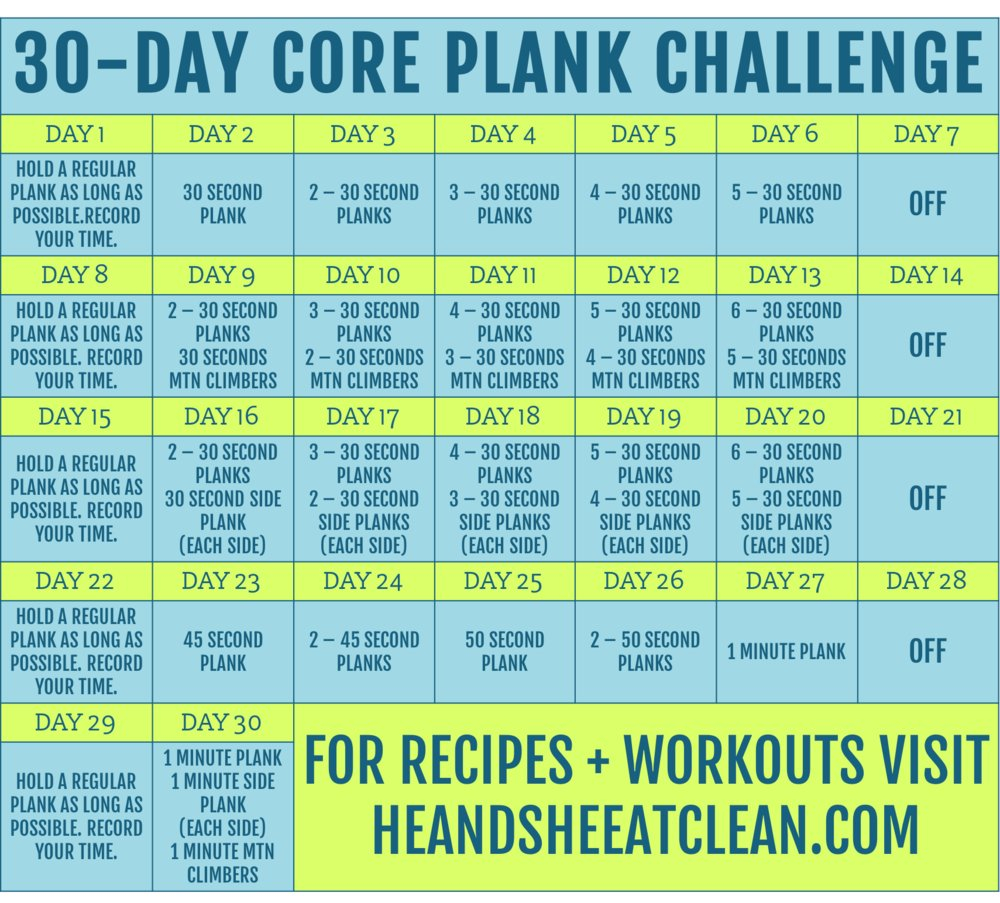 30 Day Core Plank Challenge Printable 30 Day Plank Challenge