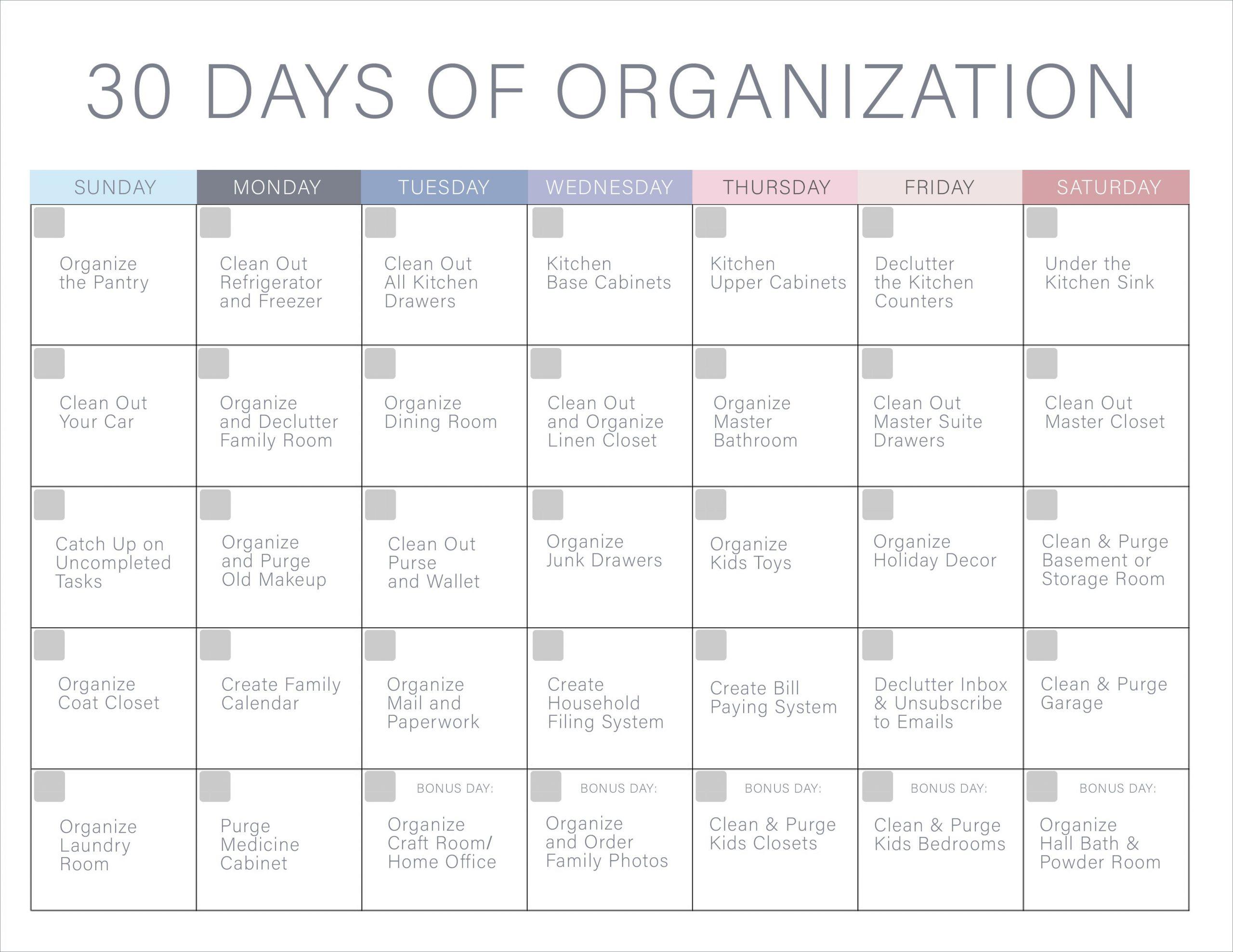 30 Day Declutter Calendar | Example Calendar Printable 30 Day Printable Calender