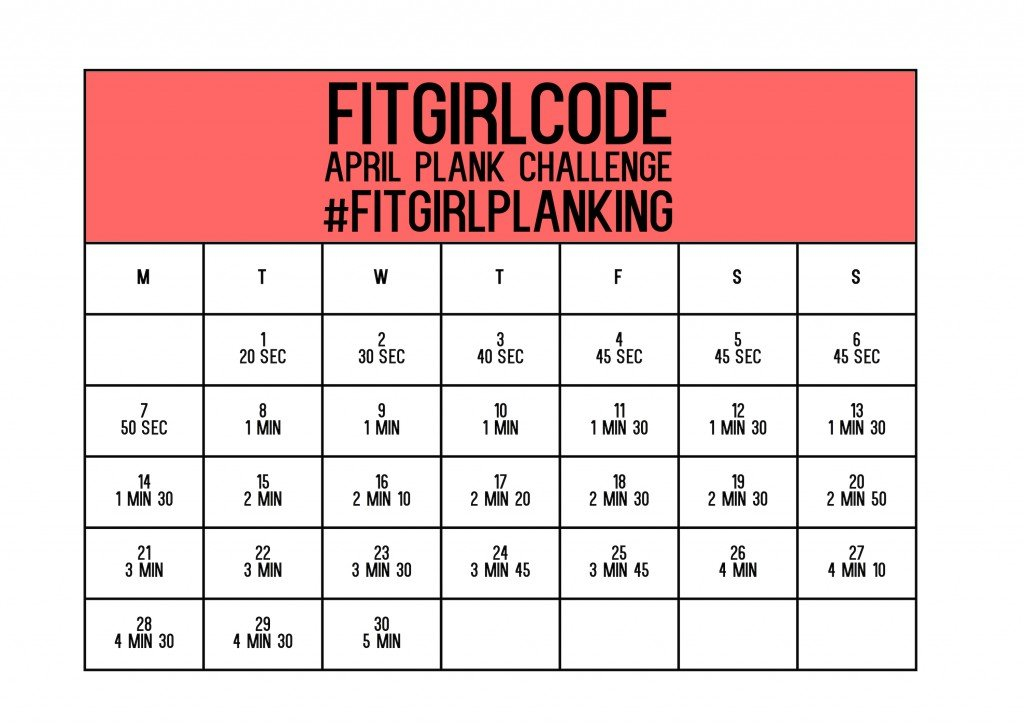 30 Day Plank Challenge Printable Plank Challenge Chart