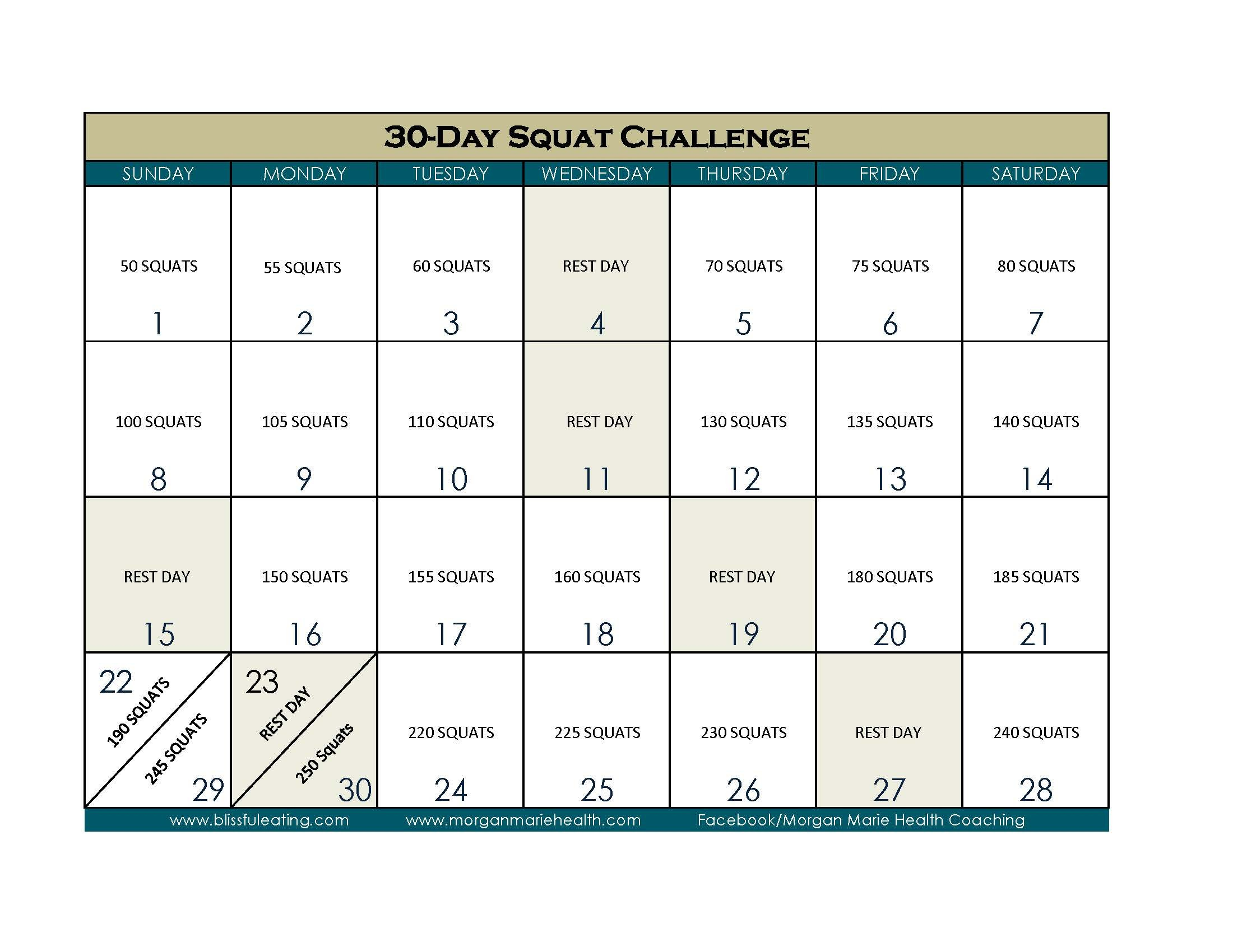 30 Day Squat Calender | Printable Calendar 2020 2021 30 Day Printable Calender
