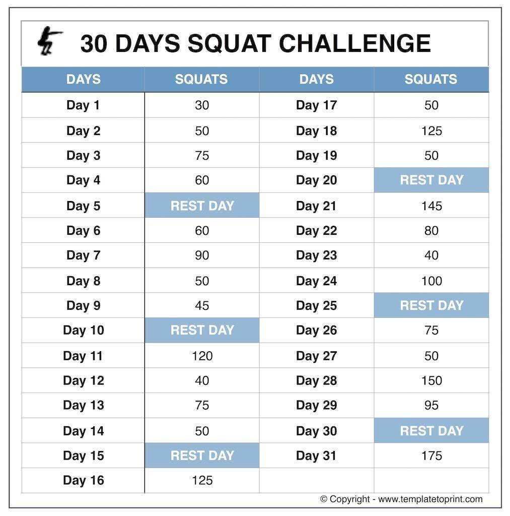 30 Day Squate Challenge Printable | Printable Calendar Free Printable Squat Challenge Chart