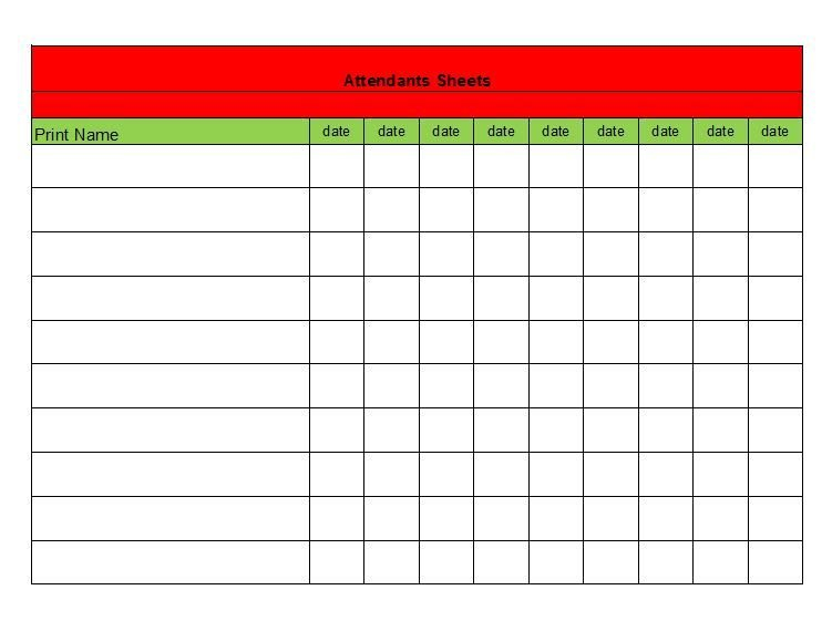 38 Free Printable Attendance Sheet Templates | Bildung 30 Day Challenge Excel Template