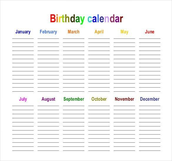 45+ Birthday Calendar Templates – Psd, Pdf, Excel 12 Month Birthday Calendar Free Printable