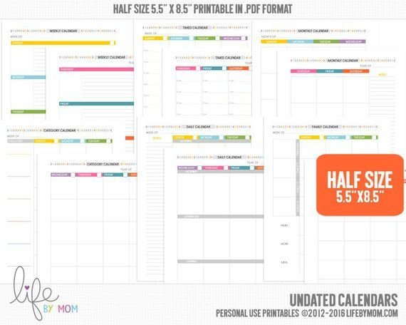 5.5 X 8.5・Undated Planner Calendars・Printable Pdf・Filofax 5.5 X 8.5 Calendar Printable