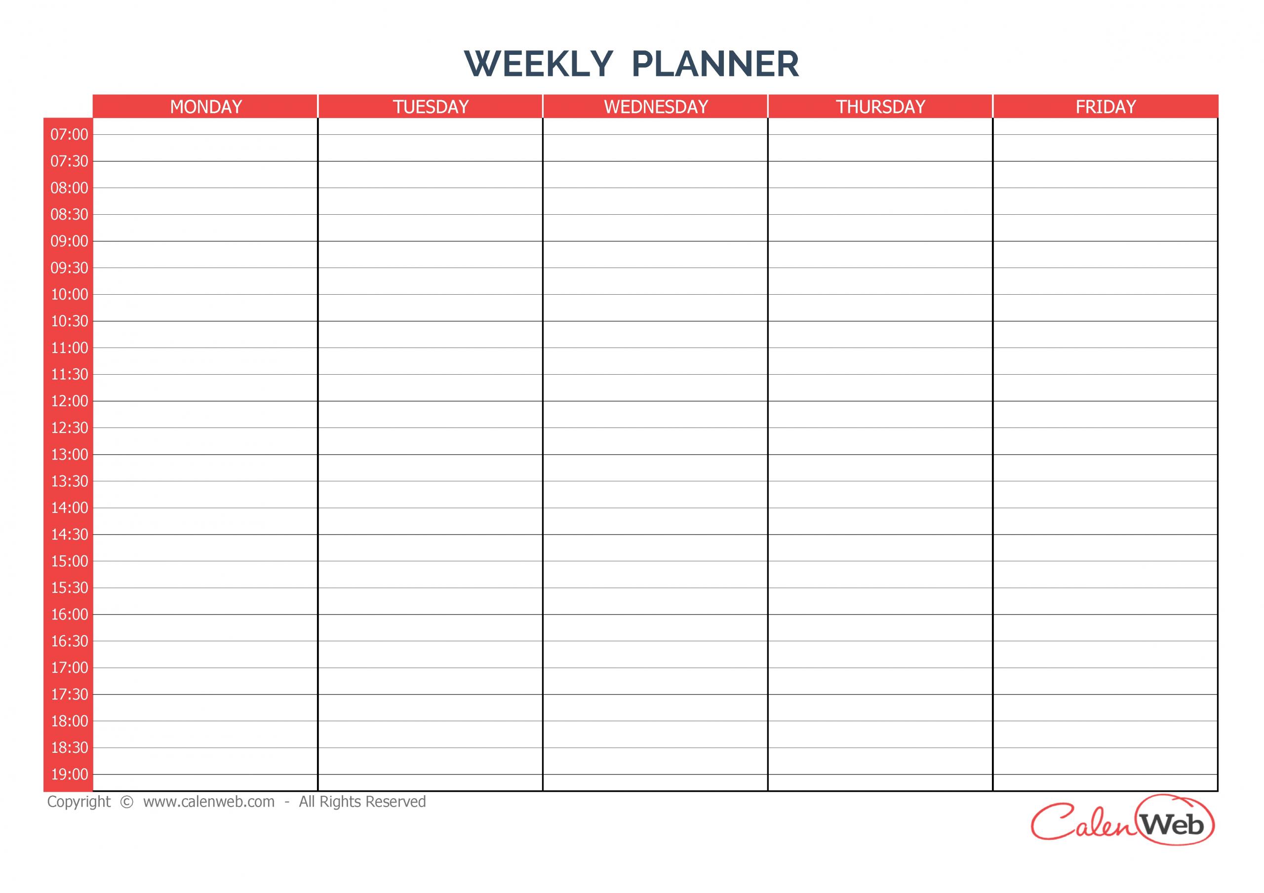 5 Day Weekly Calendar Printable   Example Calendar Printable Free 5 Day Calendar Template