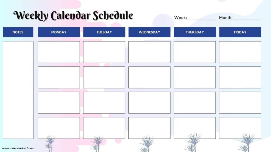 5+ Free Printable Weekly Calendar Template » Calendarkart Print 8 Week Calendar