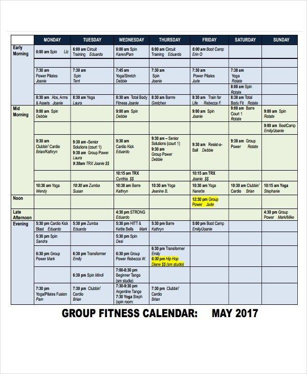 6+ Fitness Calendar Templates – Pdf, Word, Excel | Free Short Timer Calendar Download Free