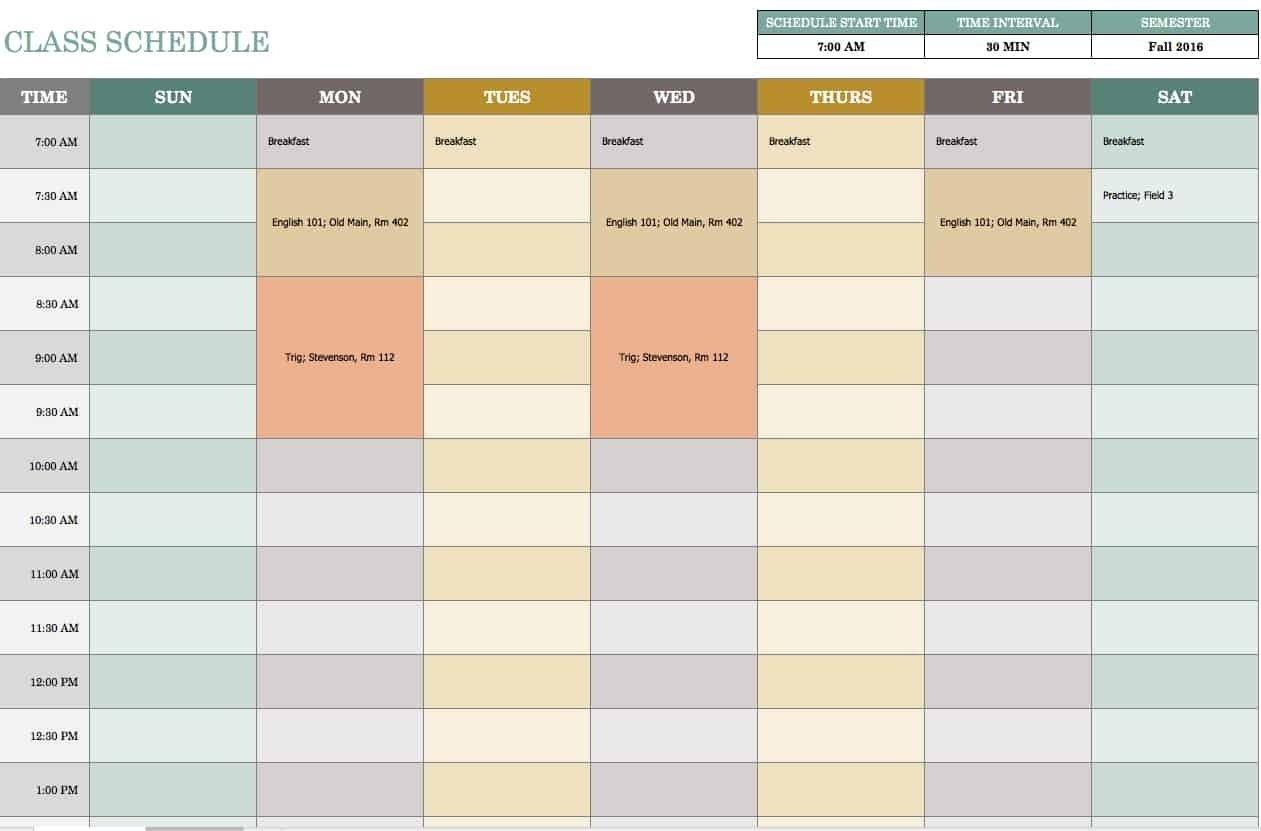 7 Day Calendar Template Excel | Free Calendar Template Example Printable 7 Day Calendars Free