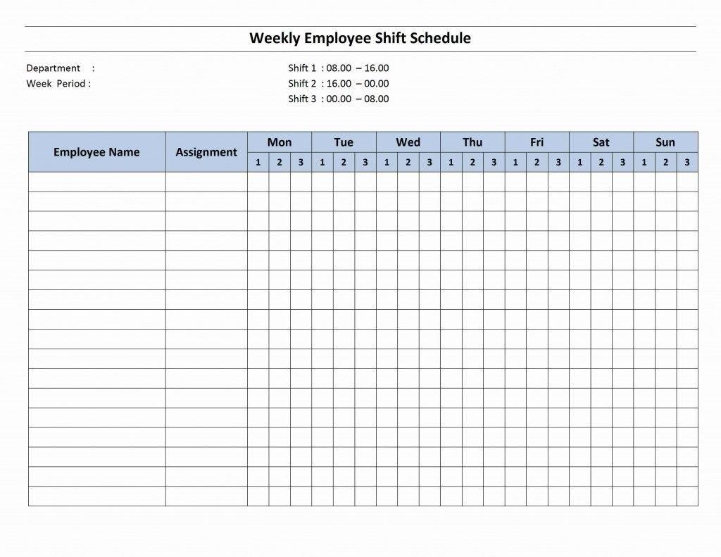 7 Day Employee Schedule Template | Blank Calendar Template 7 Day Week Blank Timetable