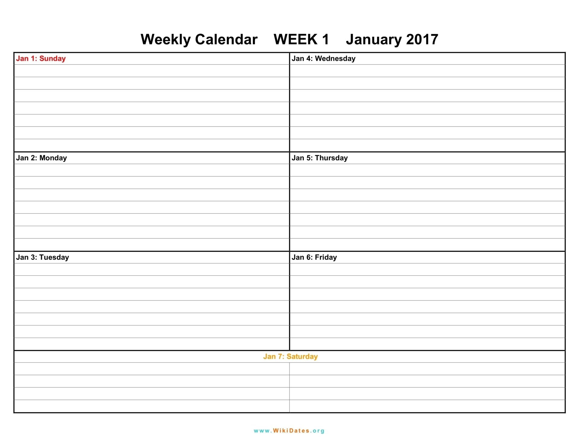 7 Day Weekly Planner Template Printable   Calendar Free Fillable Weekly Schedule