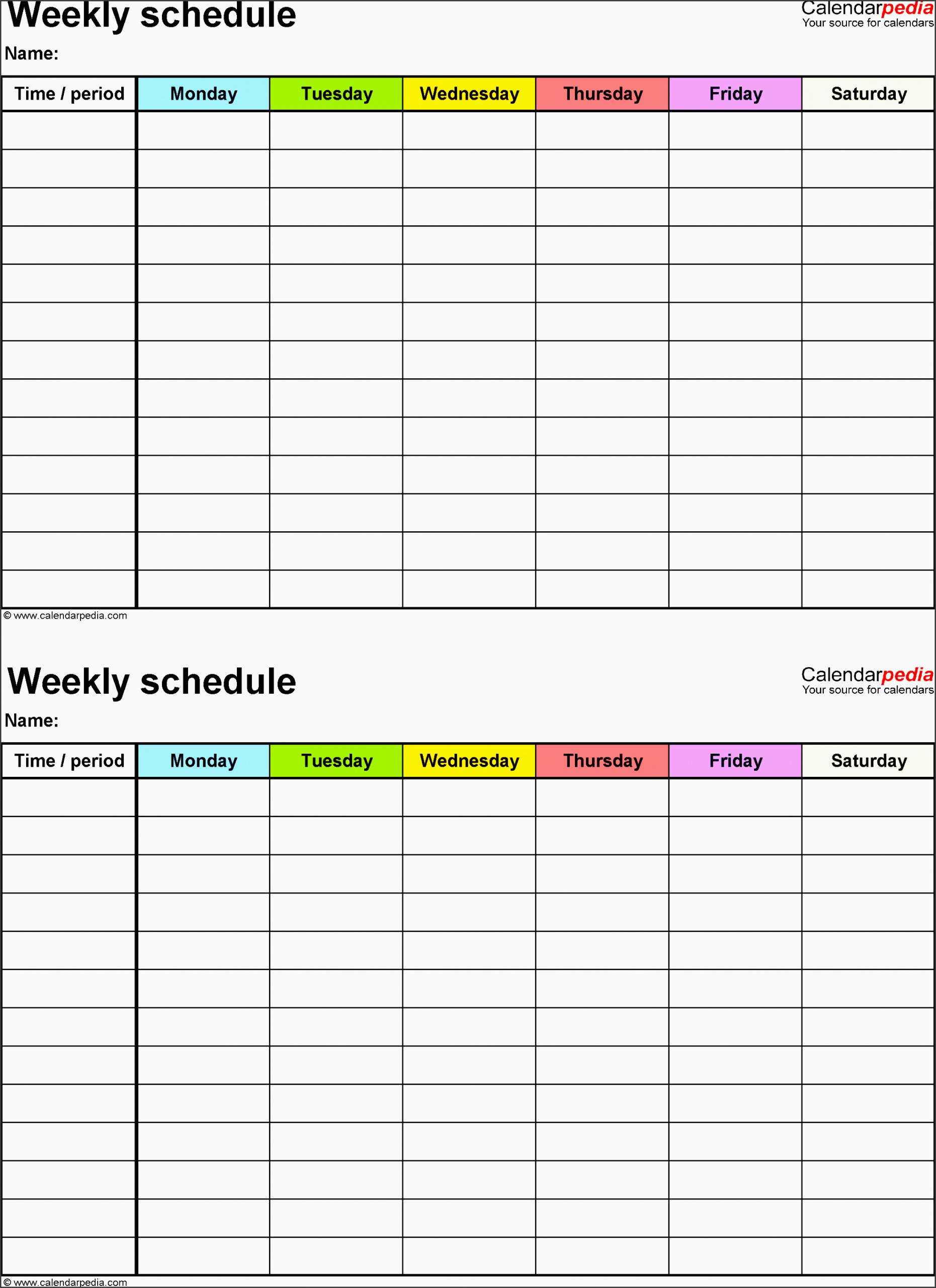 7 Employee Weekly Time Planner – Sampletemplatess Two Week Calendar Pdf