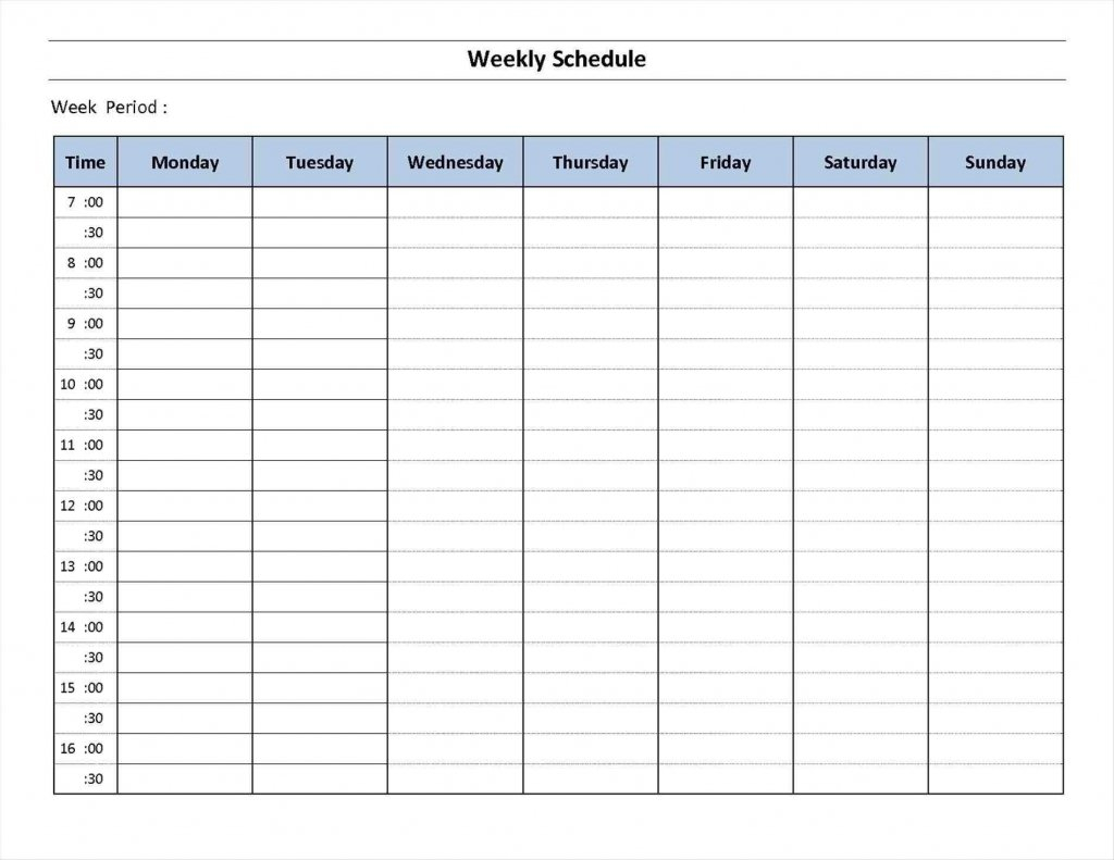 7 Week Day Print – Calendar Template 2021 30 Day Challenge Excel Template