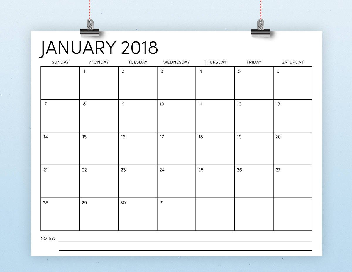8.5 X 11 2018 Calendar Template Instant Download Monthly Calendar On 8 X 11 Sheet