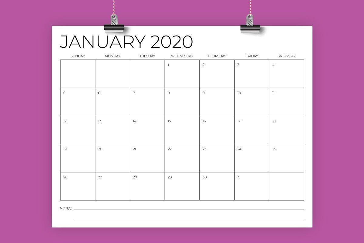 8.5 X 11 Inch Minimal 2020 Calendar В 2020 Г 8 X 11 Calendar Template