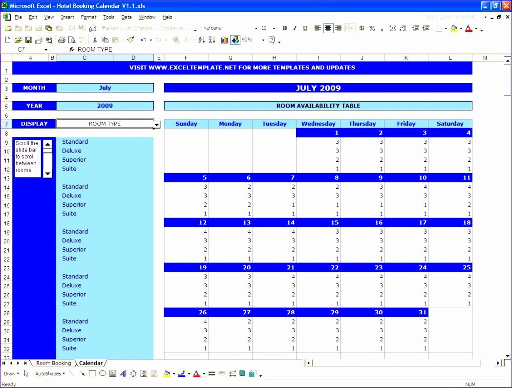 8 Excel Booking Calendar Template – Excel Templates Reservation Calendar Template Excel