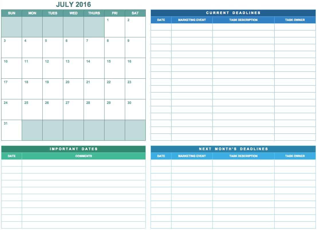 9 Free Marketing Calendar Templates For Excel – Smartsheet Free Monthly Task Calendar Template