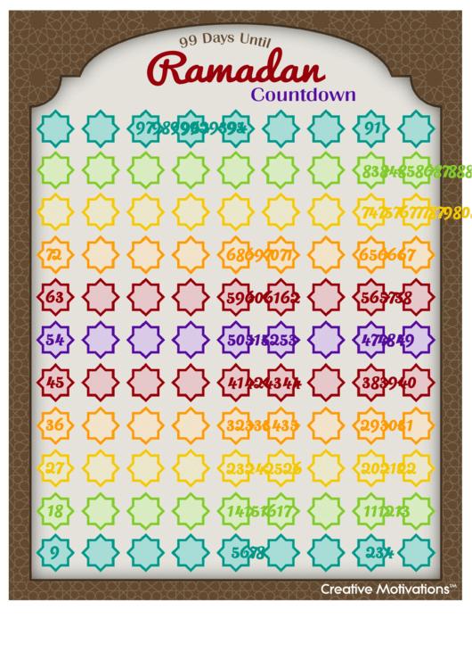 99 Days Until Ramadan Countdown Calendar Template 30 Day Retirement Countdown Coloring Calendar