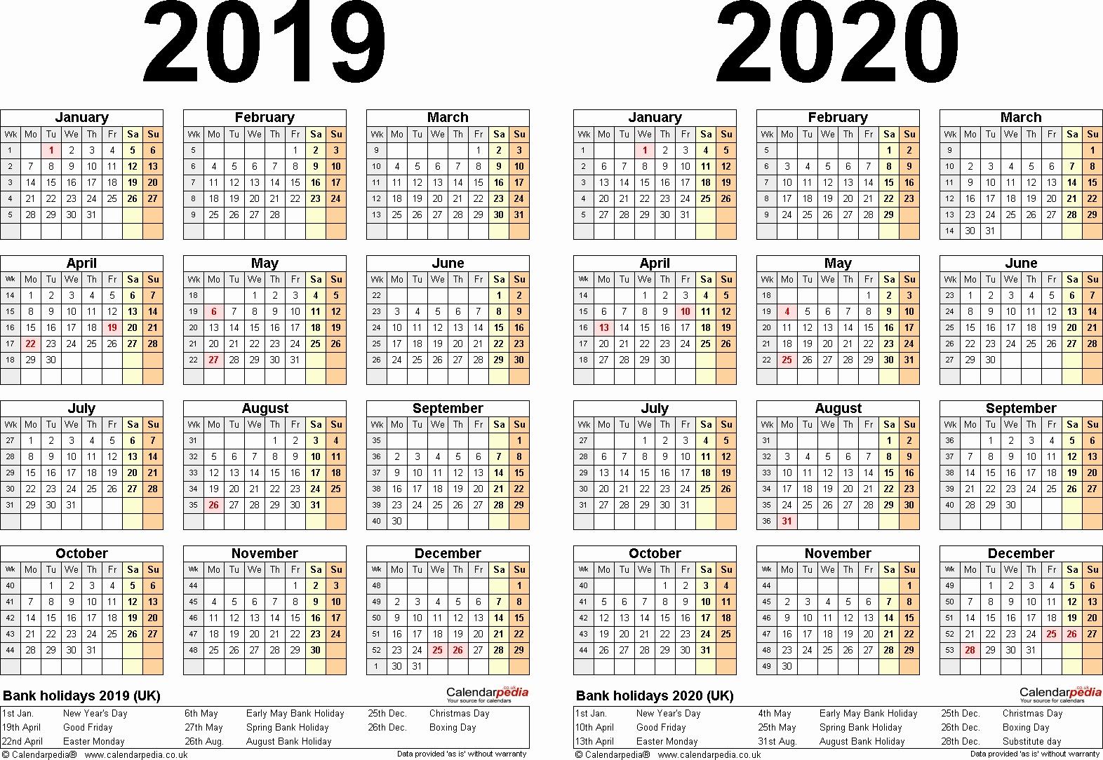 A4 Yearly Calendars For 2019 And 2020 – Calendar Multiple Year Printable Calendar