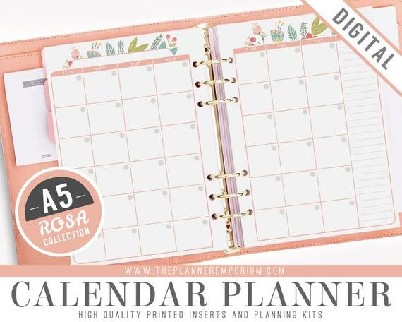 A5 Calendar Planner Inserts – Rosa Collection – Fits Kikki 8X5.5 Planner Inserts Free Printable