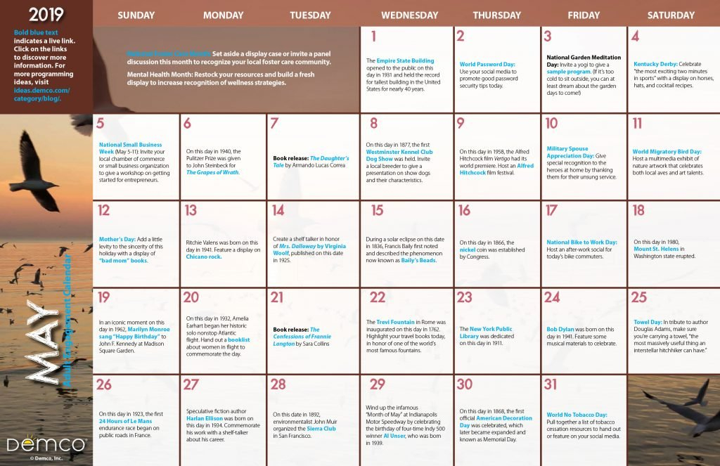 Adult Programming Calendar — May 2019: Celebrations Free Printable 8 X 11 May Calendar