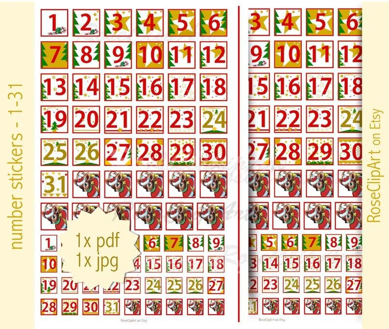 Advent Numbers 1 31 Instant Download Printable Advent | Etsy Printable Numbers 1 – 31